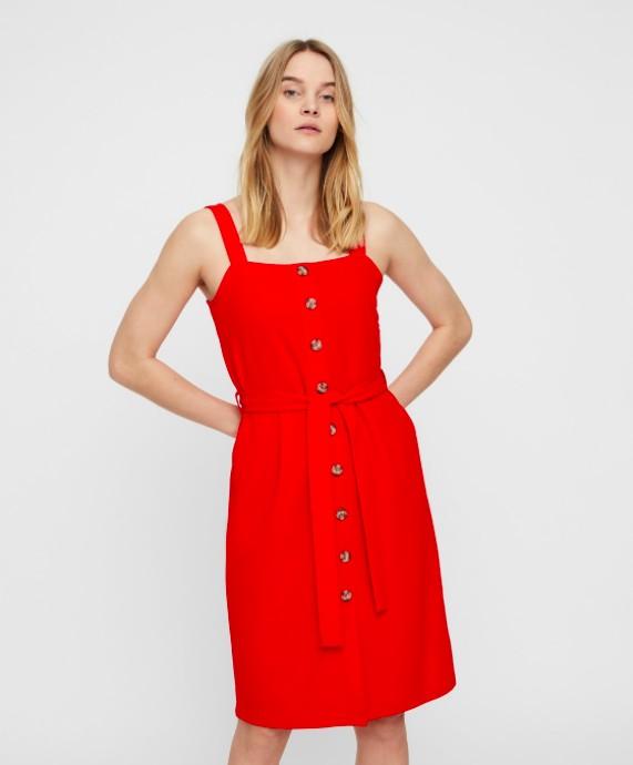 f646bbbf Forside · DAMEKLÆR · SELSKAPSKJOLER; Vero Moda - Mille button dress / rød.  PrevNext