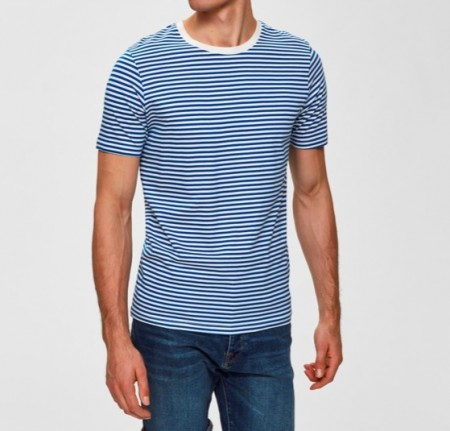 Selected Homme - the perfect stripe tee / Blå