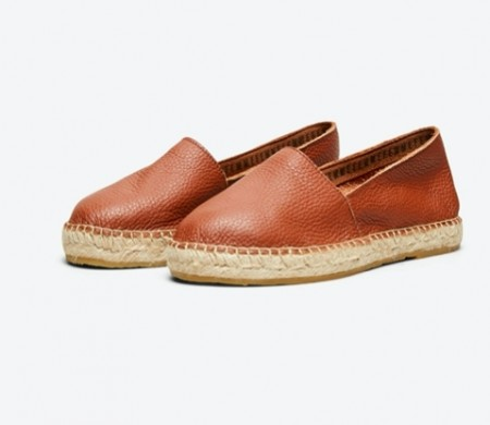 Selected Femme - Marie leather espadrilles / Cognac